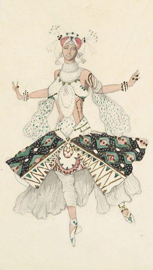 Costume design by Léon Bakst (1866-1924), 1911, Le Dieu Bleu, Tamara Karsavina as the Fiancée, watercolor and pencil.