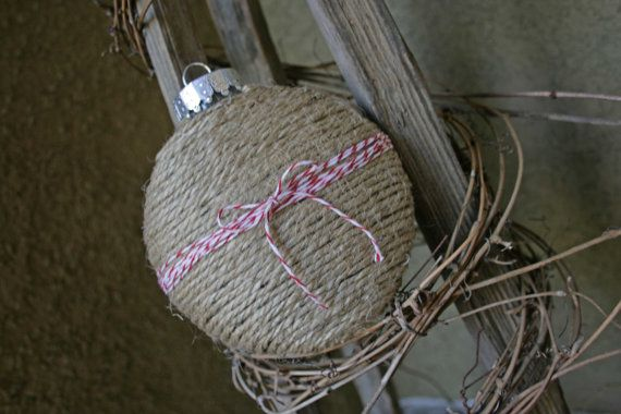 Twine Covered Flat Round Christmas Holiday Ornament