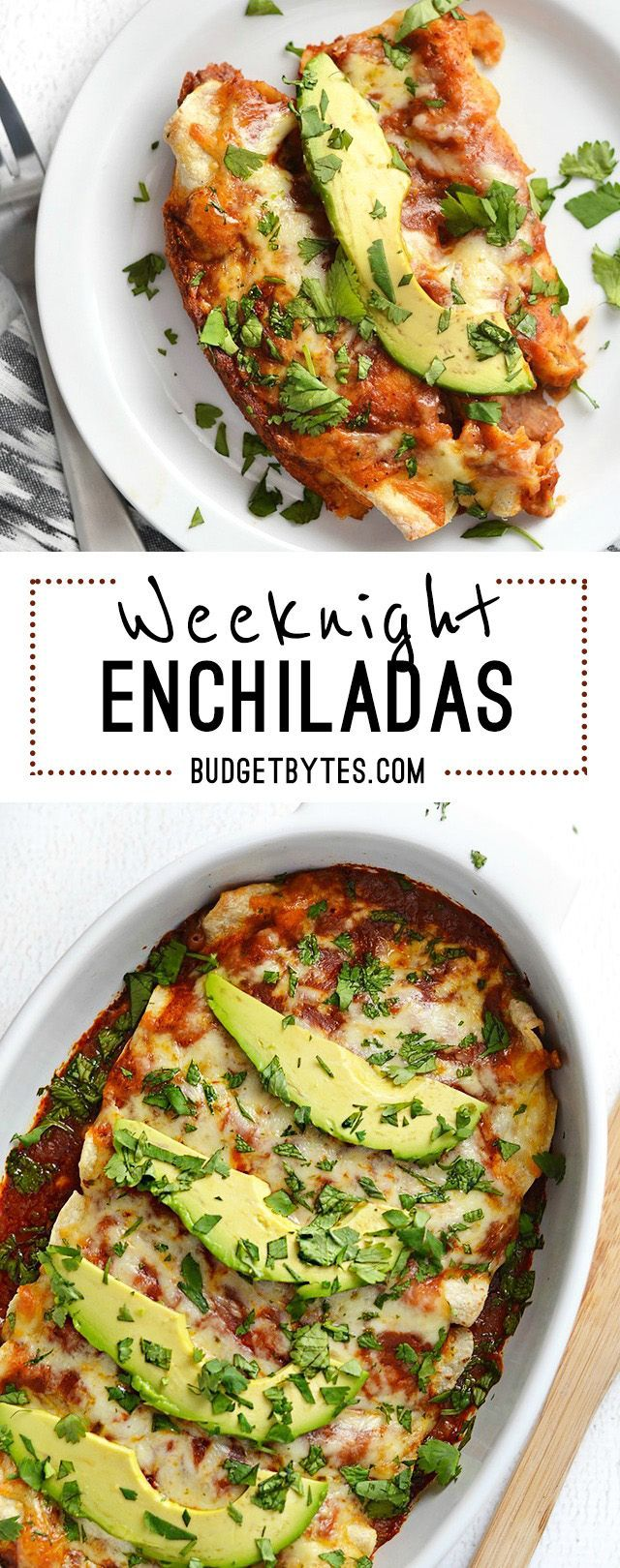 Why am I calling these enchiladas Weeknight Enchiladas? Because they're basic. Nothing frilly or fancy, just simple, basic bean and cheese enchiladas. But there are three things that, IMHO, turned the