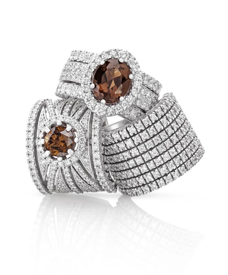 The Smokey Quartz and cognac diamonds bring joy to life and a fashionable edge to jewellery