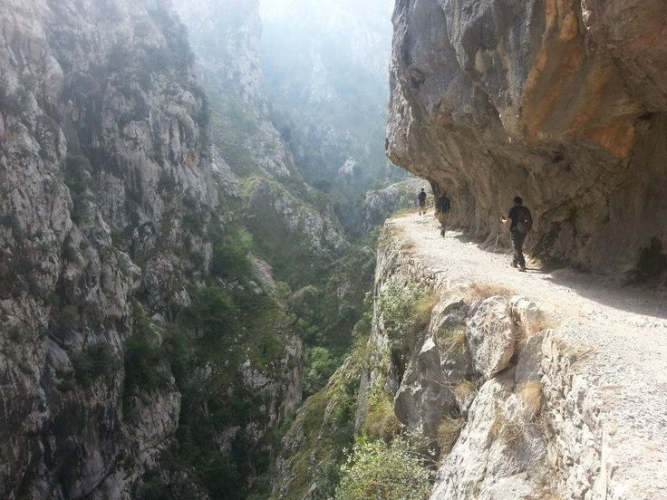 On the trail in the Cares Gorge, Picos de Europa, northern Spain. This splendid walk from Poncebos to the village of Cain is truly one of the best hikes in Europe (we think)!