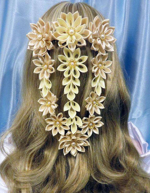Λουλούδι Blossom Tsumami Kanzashi χτένα