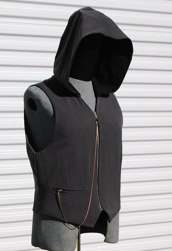 Silver Grey Steampunk Mens Medium Hooded  Vest by OLearStudios, $76.00