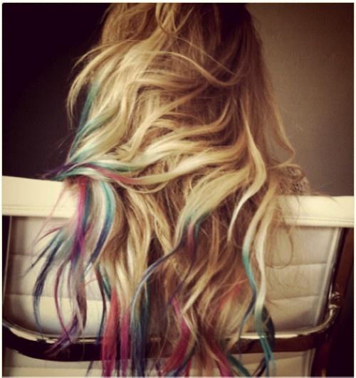 tye-dye hair tips