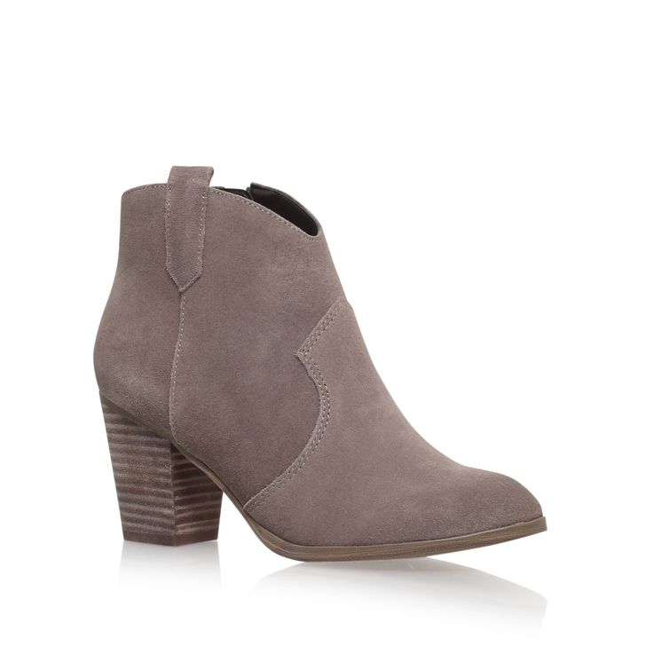 Sade Taupe Mid Heel Ankle Boots By Miss KG | Kurt Geiger