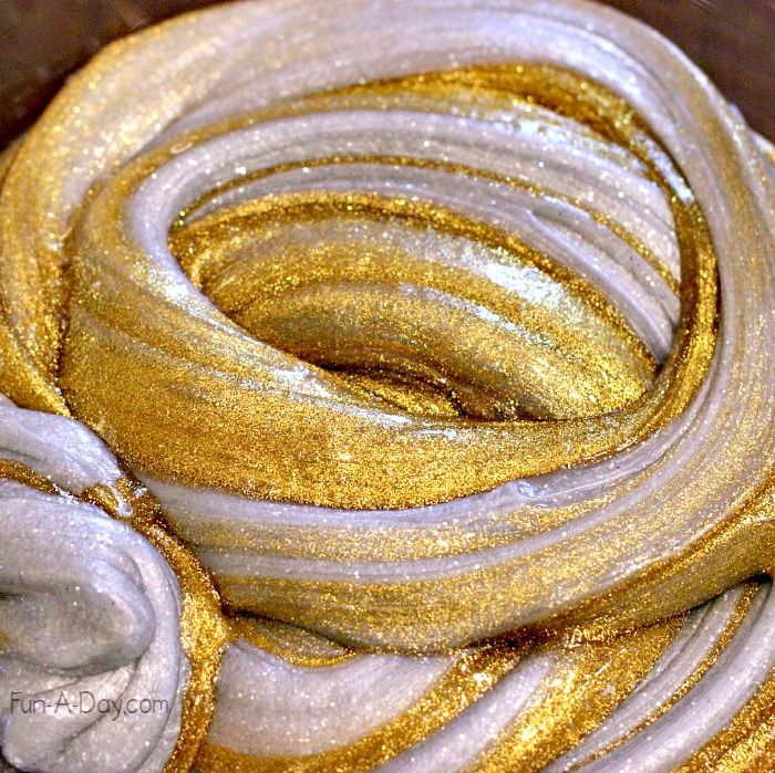 beautiful silver and gold homemade slime for kids to play with