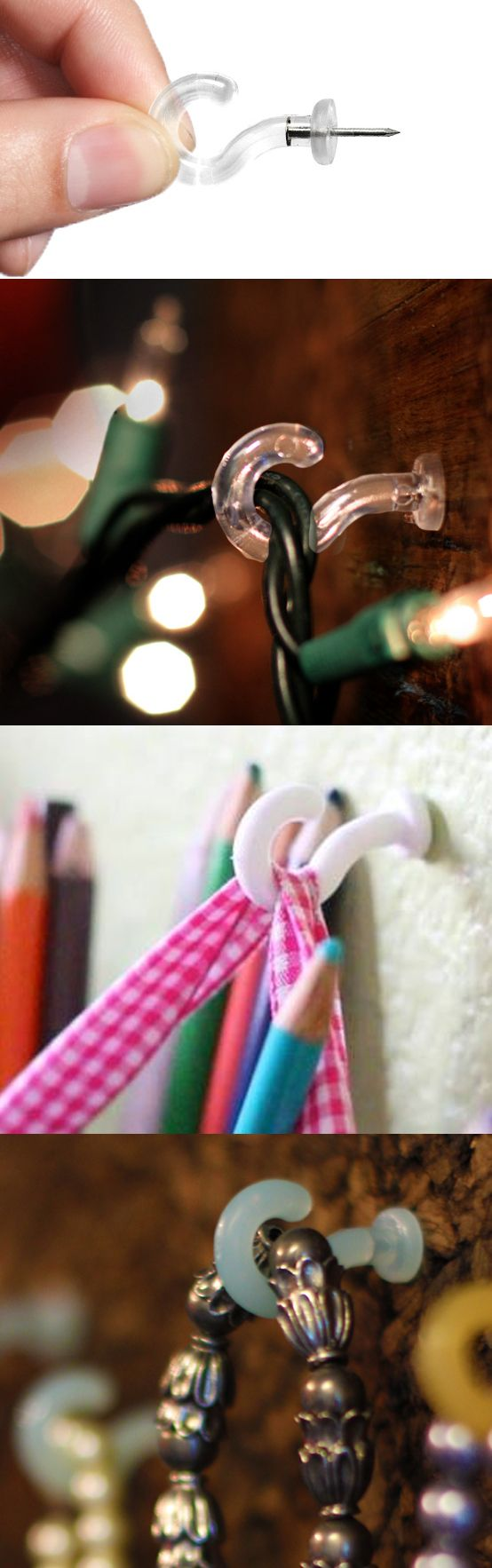 Why didn't I think of that?! :) Easy little wall hook. No nails, staples or tape. www.pinhooks.com