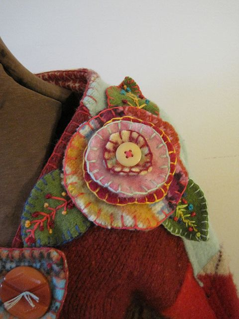 Needle felted sweater jacket flower by via Flickr