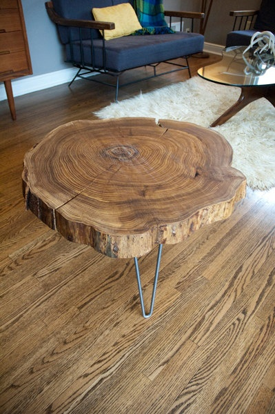 Live Edge Round Slab Side Table with Hairpin Legs . $599.00, via Etsy.