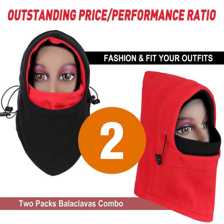 Women 2 Pack Balaclava Ski Face Mask Fleece Full Neck Hood Windproof Thermal NEW #Fleece #balaclava #ushanka #Hat #hats #winterhatsformen #winterhatsformen #trooper #flaphat #winter #winterfashion #Thermal