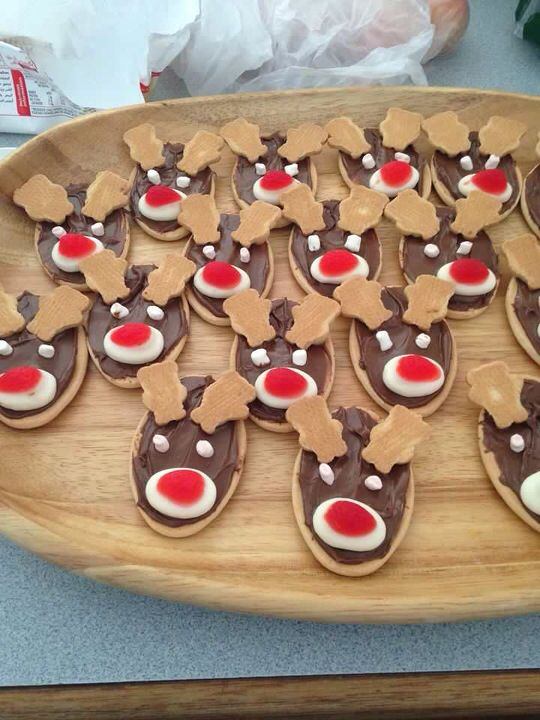 Christmas biscuits that look like Rudolph the Red-nose Reindeer!