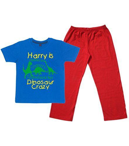 Children's Royal Blue T-Shirt & Red Long Pants Pyjama Set 'PERSONALISED DINOSAUR CRAZY' with Yellow & Green Print.