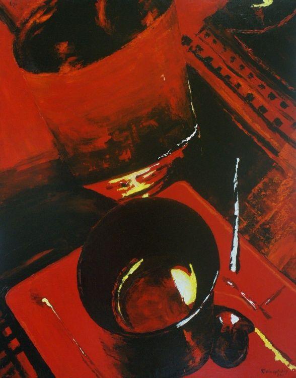 """René Vincent-Viry (©2013 vincent-viry.com) Acrylique au couteau sur toile de lin Collection """"Saveurs de cuisine et de peinture""""  exposition au restaurant gastronomique """"La Table d'Angèle"""" La Bresse Vosges."""