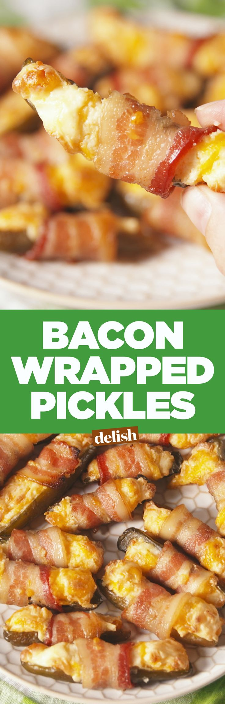Pickle lovers, you're going to freak over bacon-wrapped pickles. Get the recipe on Delish.com.
