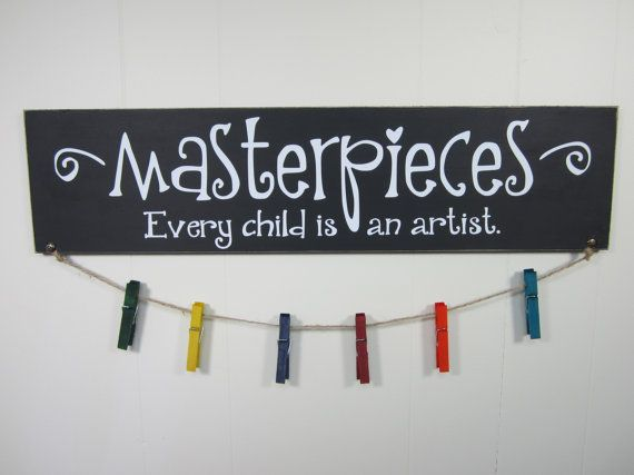 "Hanger - Masterpieces Every Child is An Artist - Picasso Quote - 24"" x 6"" Wooden…"