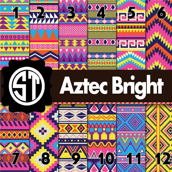 Aztec Bright Patterns Printed Vinyl Or Heat Transfer Vinyl Iron On You Choose 6x6 8 5x11 12x12 12x24 And 12x36 By Sou Bright Patterns Print Patterns Vinyl