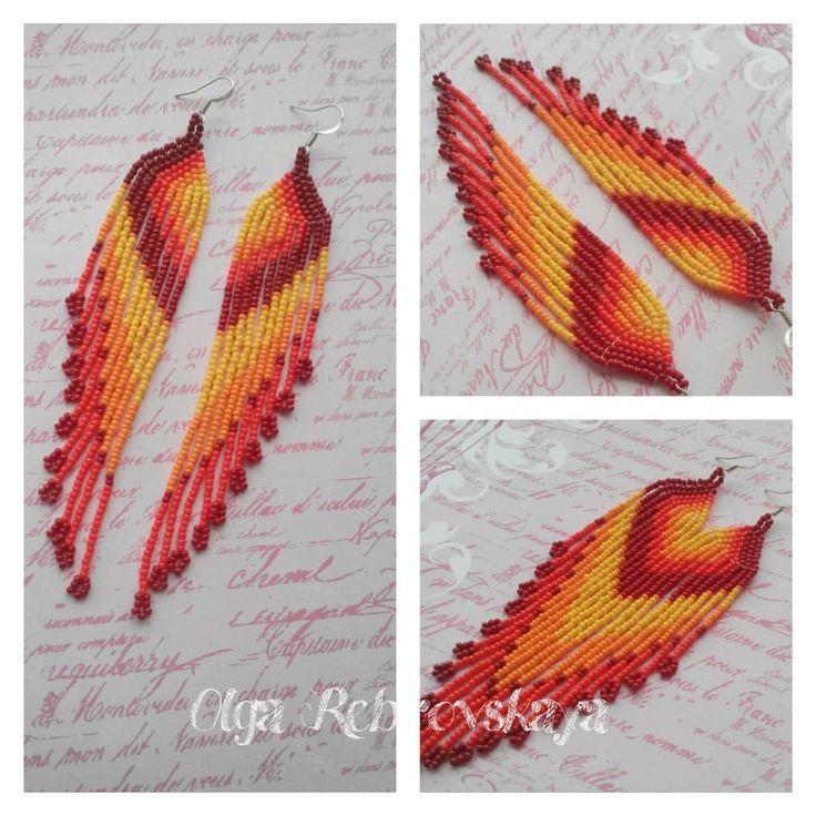"""Длинные серьги """"Жар-птица"""".  Изготовлены из японского бисера TOHO. Швензы не темнеют. Длина изделия без швенз - 13 см. Лёгкие, не оттягивают ушки."""