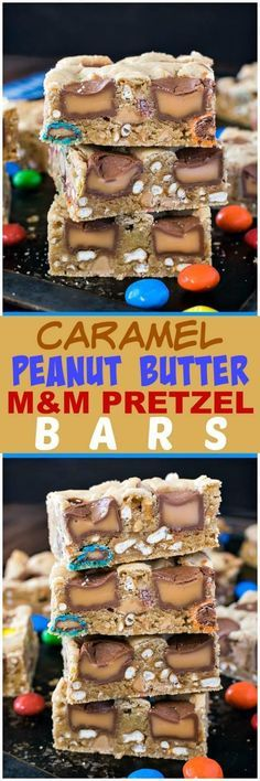 Caramel Pretzel Peanut Butter M&M Bars - lots of candy and pretzel pieces make these easy blonde brownies disappear in a hurry! Great sweet and salty recipe!