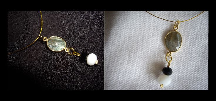 23104_1 Κοντό κολιέ με ημιπολύτιμη πέτρα και κρυστάλλινες χάντρες Necklace with semiprecious stone and crystal beads Τιμή 9 €