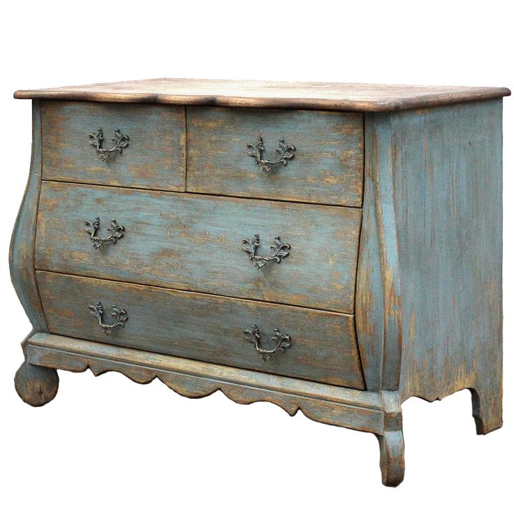 Furniture Chests Dressers Vintage French Blue Curved Chest