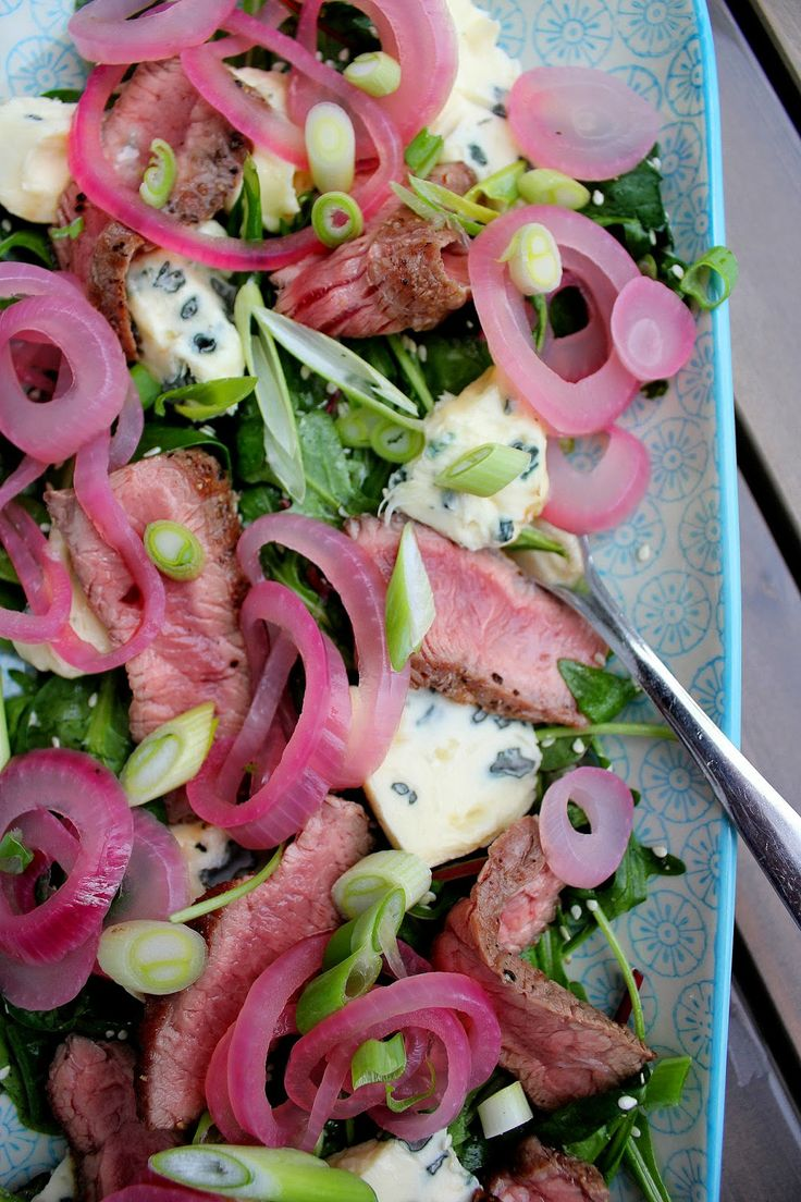 Steak salad with pickled red onions and blue cheese