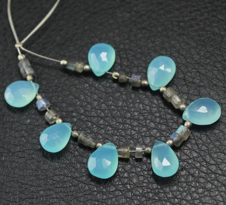 Aqua Chalcedony Labradorite Faceted Pear Drop Tube Briolette Beads Strand – Jewels Exports