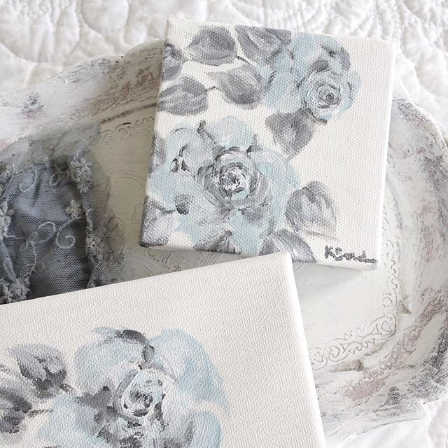 Letting the waters within flow gently...Sea Blue floating roses for Summer.  I am painting the roses in my garden.  I paint roses in a pale palette to have an appearance of faded vintage wallpaper. These are a soft seawater blue with grey foliage. Soon to join the Faded Rose Collection in my Seawashed Shop 🐚 link in profile #seawashedetsy #seawashed #seawashedliving #seawashedstudio #kerriesanderson #fadedroses #fineart #rosepaintings #blueroses #seawashedroses #cabbagesandroses #shabbychic…