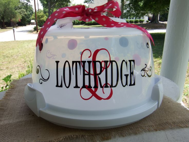 Personalized Cake Carrier by on Etsy & 109 best Vinyl cake carrier images on Pinterest | Vinyl projects ...