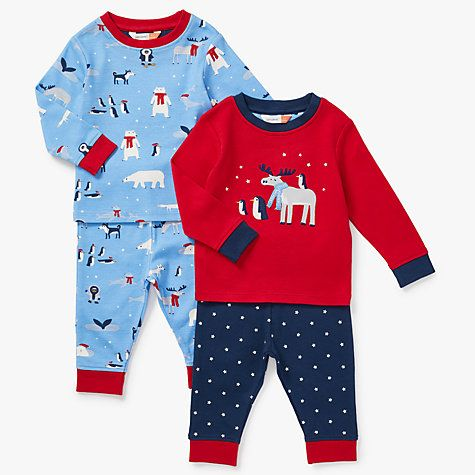Buy John Lewis Baby Christmas Moose & Penguin Pyjamas, Pack of 2, Red/Blue Online at johnlewis.com