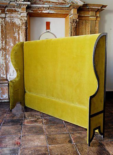 Casamidy yellow velvet headboard