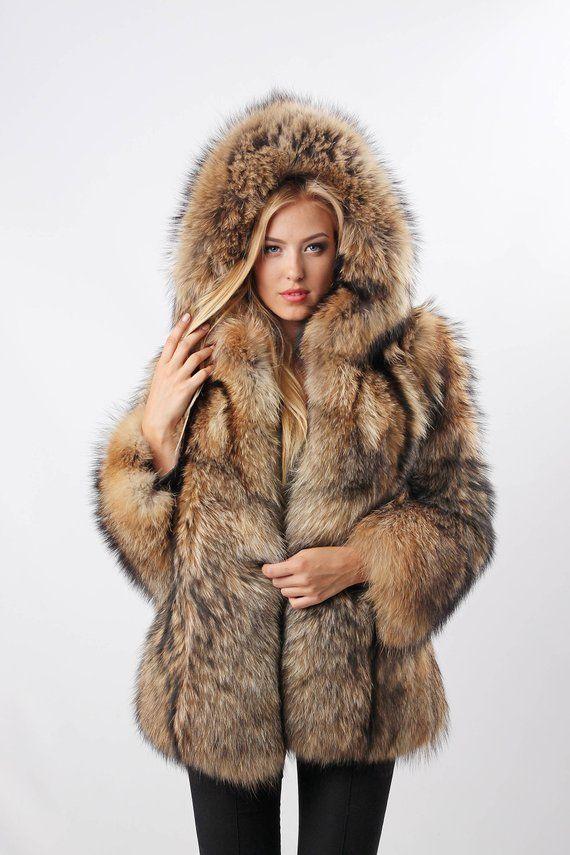 6fbf8c27ea29 Real raccoon fur jacket Real fur coat Raccoon fur Russian fur coats, Winter  women coats, warm winte
