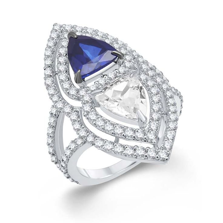 Blue & White Trillian Ring Product Code : ADR1400014   Type :Blue Hydro, White Topaz, Swarovski     Color : Blue  #SilverRingsForWomen, #SilverRingsForGirl, #BuySilverRingsOnlineIndia,   #SilverRingsShopping, #SilverRingsShoppingOnline, #DesignerRings,   #DesignerSilverRingsOnline, #BuyDesignerSilverRings