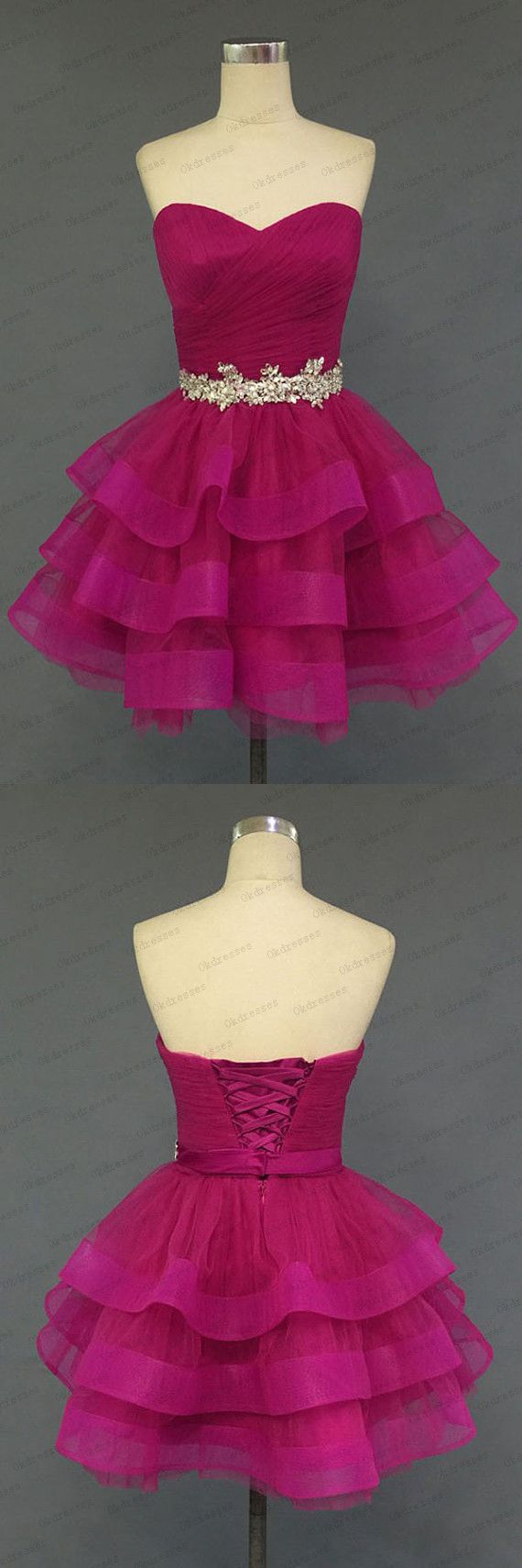 Hot Pink Organza Sweetheart Neckline Short Prom Dress Homecoming Dresses,Beadings Belt Tiered Wedding Party Gown, Rose Red Layers Homecoming Dress