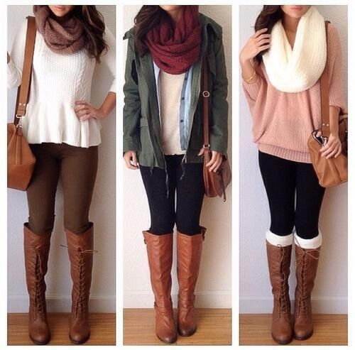 Scarves, white scarf with riding boots and sweaters, potential fall outfits