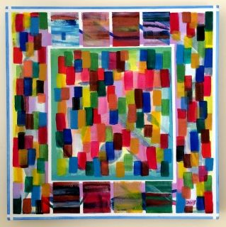 """Original Abstract Painting on Wood Frame Box Canvas. Ready to hang.  Artist: Dermot Daly  Abstract design in Canvas. Very Colorful.  Contemporary, Vibrant Design.   Titled: Tab Step One Part of my ApexTab Collection  Size: 16"""" X 16"""" (40 X 40cm) Thickness canvas (frame) screen: 1.5"""" (4cm)  Sides of canvas are painted so no need for framing. Ready to hang.  Painting would suit a modern, stylish setting.  The photograph does not do the Painting Justice. With final Varnishing: The Painting…"""