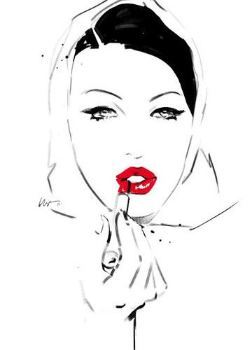 For me, there is nothing more classic in fashion then the color combinations of red, black and white. I think this illustration captures it in a subtle manner and maintains the classic feel of what the color story is about. Not only that but it pays special attention to the timeless look of the red lip.