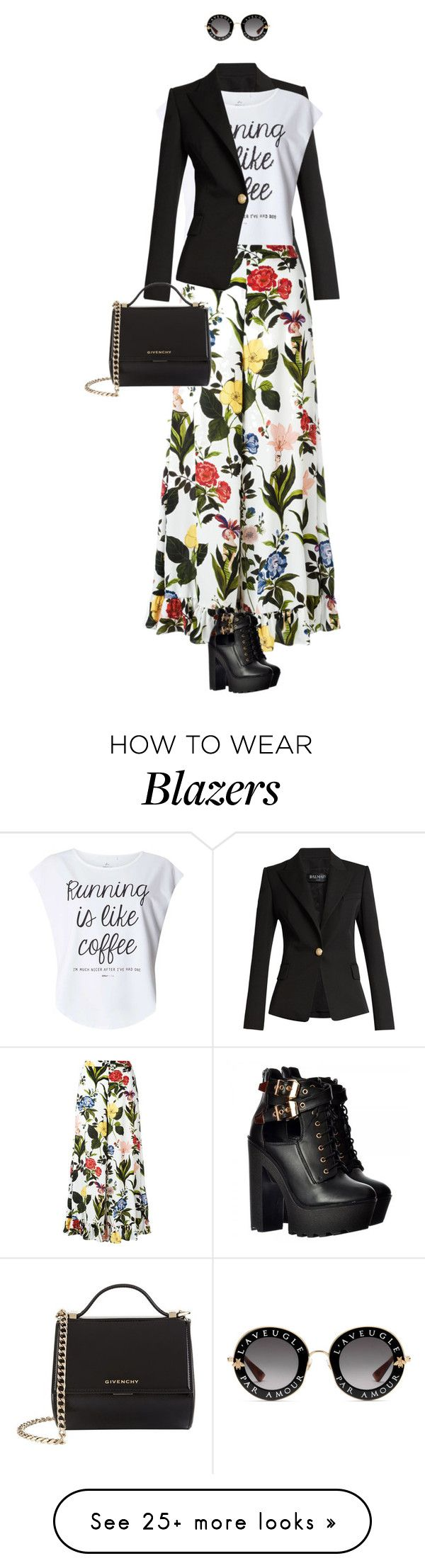 """eva 0676"" by evava-c on Polyvore featuring Balmain, Dorothy Perkins, VIVETTA, Gucci and Givenchy"