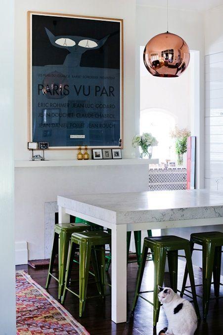 green stools, marble top, copper globe lightingKitchens, Tom Dixon, Green Stools, Dining Room, Colors, Interiors, Marbles, Copper Pendants, Pendants Lights