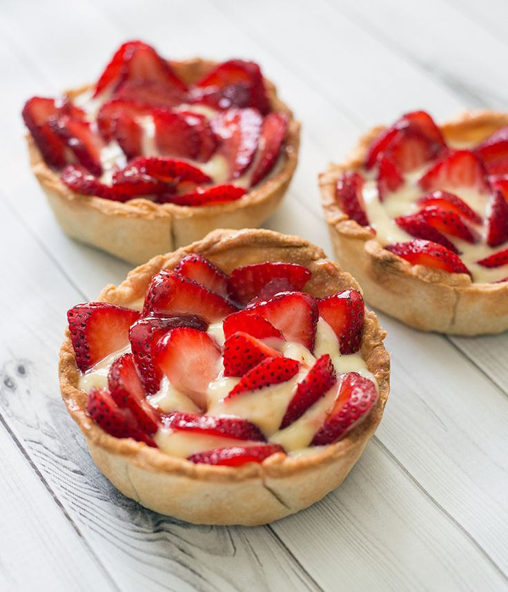 <3 Pies & Tarts [These mini strawberry pies are one of my favorite dessert. Other than the waiting time for the shells and pastry cream to cool, these are very easy and quick to assemble and make the perfect summer...]