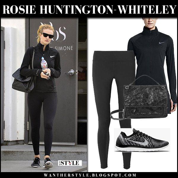 Rosie Huntington-Whiteley in black Nike jacket, black leggings and sneakers
