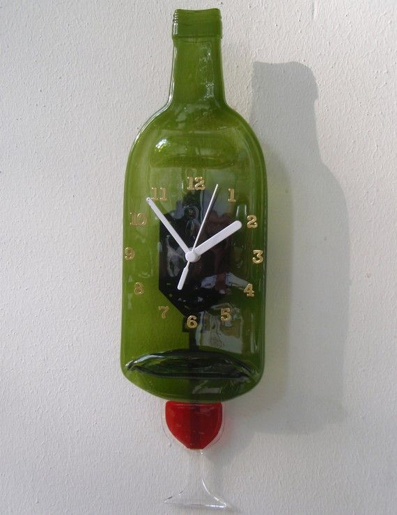 Always time for wine...Crafts Ideas, Bottle Ideas, Bottle Clocks, Glasses Ideas, Glasses Bottle, Wine Bottles, Crafts Wine, Recycle Pendulum, Pendulum Bottle