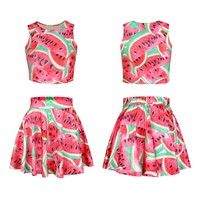 Wish | New Fashion Emoji Watermelon Print 2 Piece Crop Top And Skirt Set Scale Print Woman Trendy Clothes Tops Skater Skirt Suit