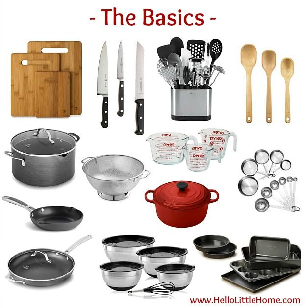 Kitchen Essentials List for Home Cooks ... the basics! From basics to fun gadgets, this kitchen essentials list has everything you need to start creating delicious meals! Perfect for new graduates, college students, or anyone setting up their first apartment or creating a wedding registry, this checklist has the must have kitchen tools you need to get started cooking! | Hello Little Home