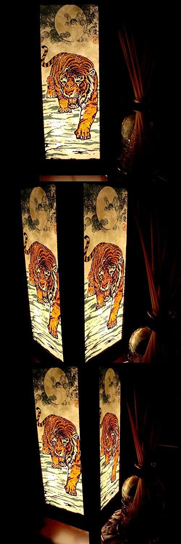 Tiger Moon Night Table Lamp Lighting Shades Floor Desk Outdoor Touch Room Bedroom Modern Vintage Handmade Asian Oriental Wood LED Bedside Gift Art Home Garden Christmas; Free Adapter; Us 2 Pin Plug #125