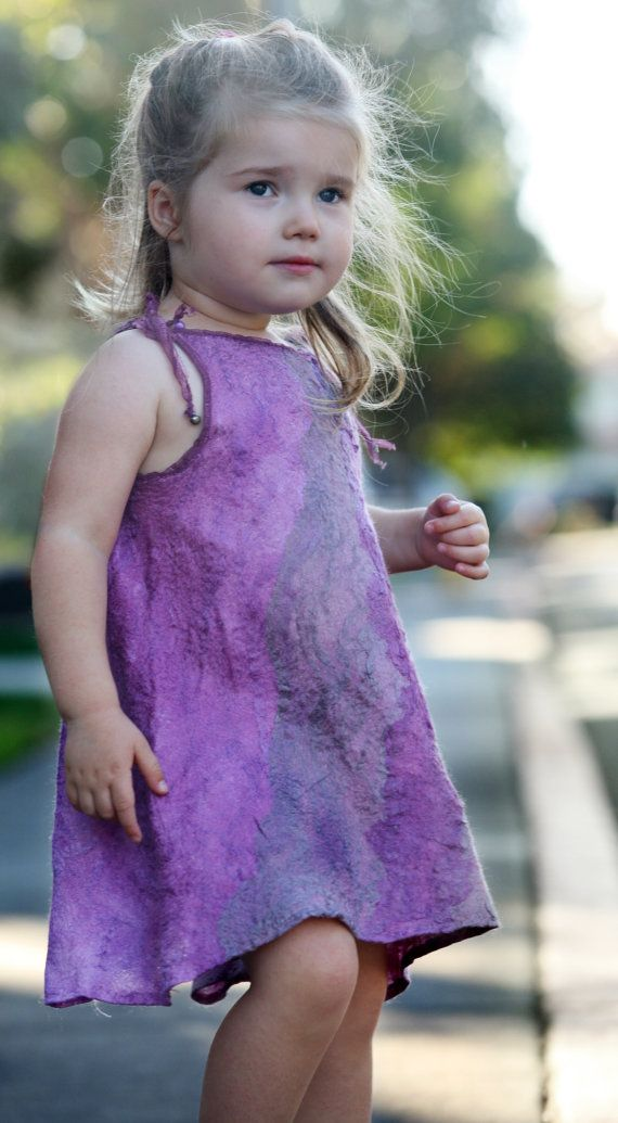 Nuno felted unique designer silk dress for a little girl OOAK art to wear dress for a special occasion children size 2-4 Mother and daughter