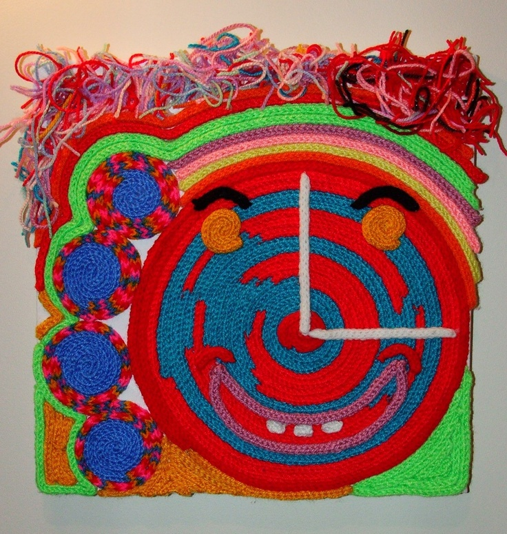"""""""Happy Hour"""" - approx 40 x 40 cm. French Knitting glued on canvas frame. Available."""