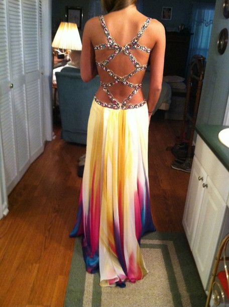 Dress: prom colorful, open back, tumblr, prom, promgirl, yellow, multi colored, maxi bright, crisscross back - Wheretoget