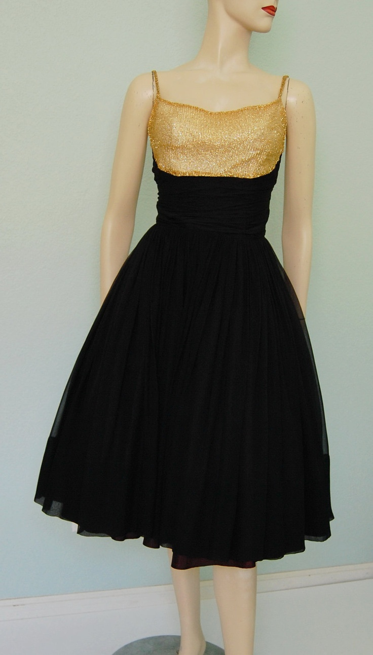 1960s Suzy Perette Black Silk Chiffon Dress with Gold Mesh Bodice