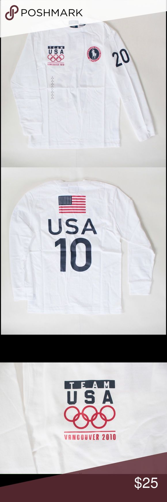 """Polo Ralph Lauren 2010 Olympics boys white t shirt NWT Polo 2010 Vancouver Olympics white t-shirt Approx measurements with garment staying flat Bust: 18"""" Sleeve: 21"""" Length: 24"""" Condition: Pristine Fabric: 100% Cotton Designer: Polo Ralph Lauren Polo by Ralph Lauren Shirts & Tops Tees - Long Sleeve"""