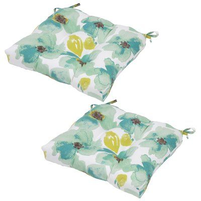 Plantation Patterns Savannah Floral Seat Pad Outdoor Chair Cushion (Set of 2)
